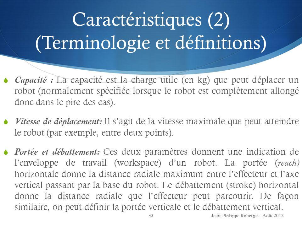 Caractéristiques (2) (Terminologie et définitions) Capacité : La capacité est la charge utile (en kg) que peut déplacer un robot (normalement spécifié