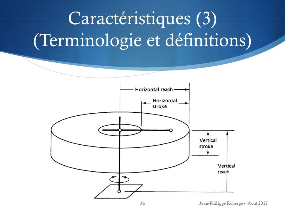 Caractéristiques (3) (Terminologie et définitions) Jean-Philippe Roberge - Août 201234