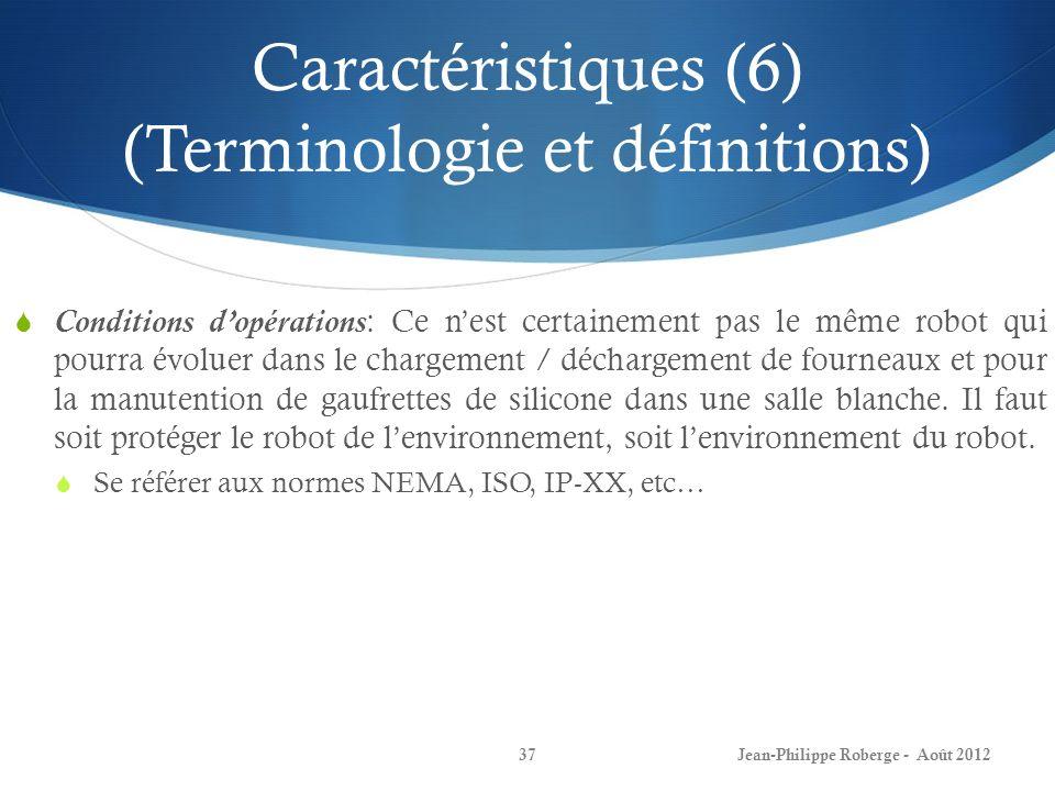 Caractéristiques (6) (Terminologie et définitions) Jean-Philippe Roberge - Août 201237 Conditions dopérations: Ce nest certainement pas le même robot