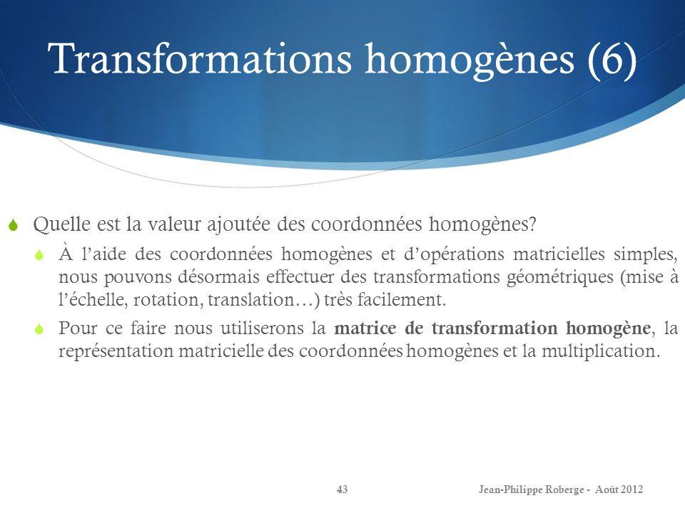Transformations homogènes (6) Quelle est la valeur ajoutée des coordonnées homogènes? À laide des coordonnées homogènes et dopérations matricielles si