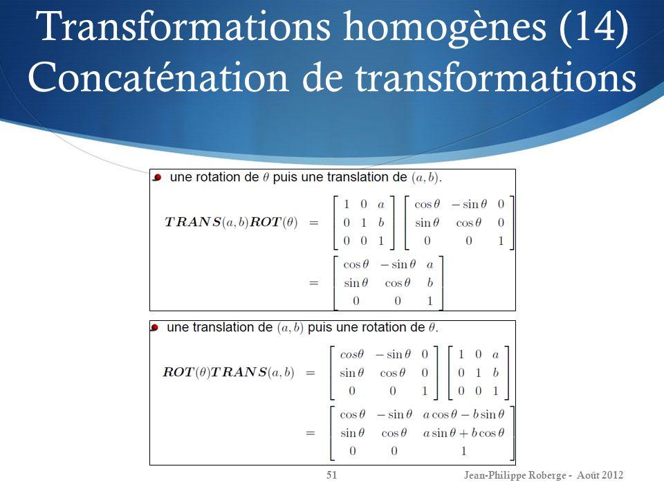 Transformations homogènes (14) Concaténation de transformations Jean-Philippe Roberge - Août 201251