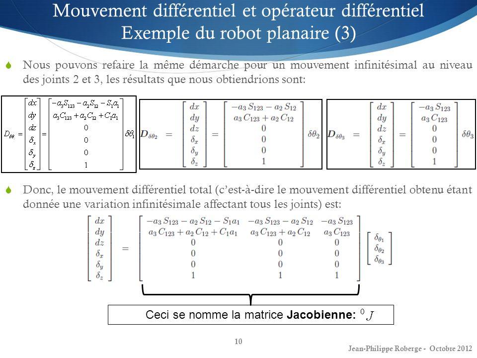 10 Mouvement différentiel et opérateur différentiel Exemple du robot planaire (3) Nous pouvons refaire la même démarche pour un mouvement infinitésima