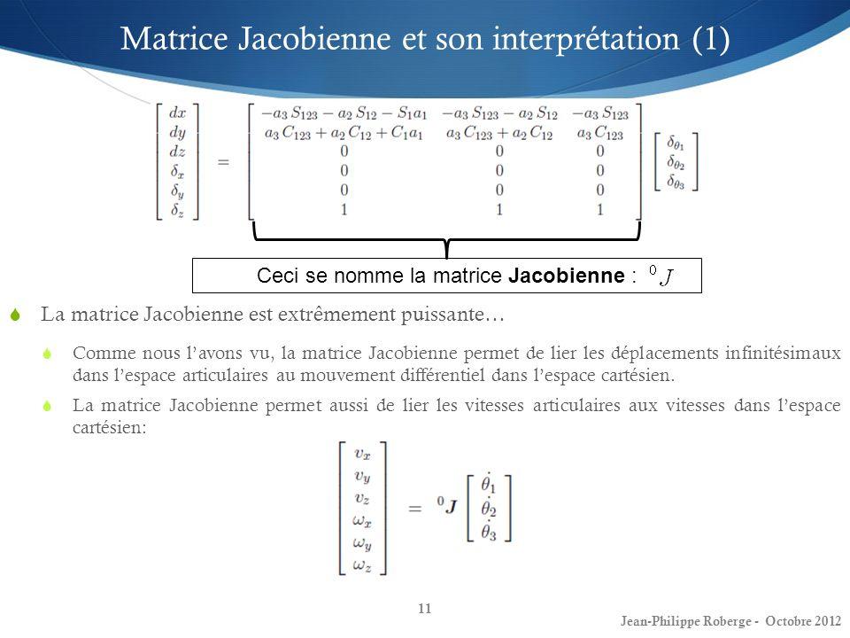 11 Matrice Jacobienne et son interprétation (1) La matrice Jacobienne est extrêmement puissante… Comme nous lavons vu, la matrice Jacobienne permet de