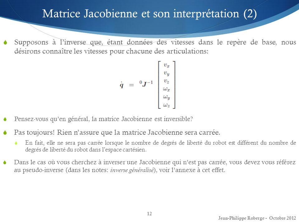 12 Matrice Jacobienne et son interprétation (2) Supposons à linverse que, étant données des vitesses dans le repère de base, nous désirons connaître l