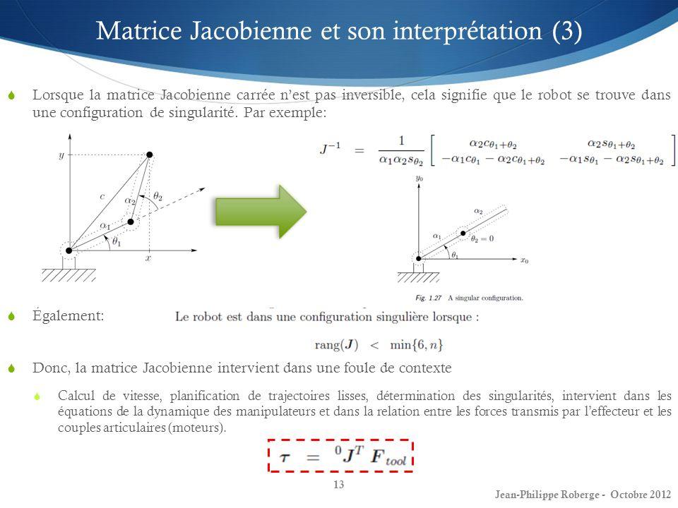 13 Matrice Jacobienne et son interprétation (3) Lorsque la matrice Jacobienne carrée nest pas inversible, cela signifie que le robot se trouve dans un