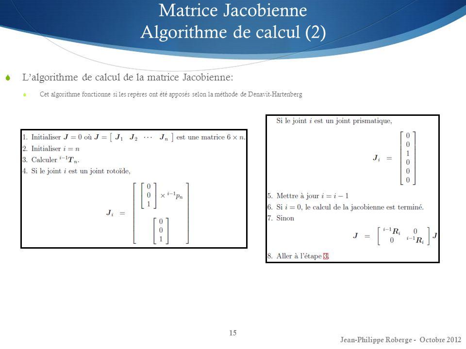 15 Matrice Jacobienne Algorithme de calcul (2) Lalgorithme de calcul de la matrice Jacobienne: Cet algorithme fonctionne si les repères ont été apposé