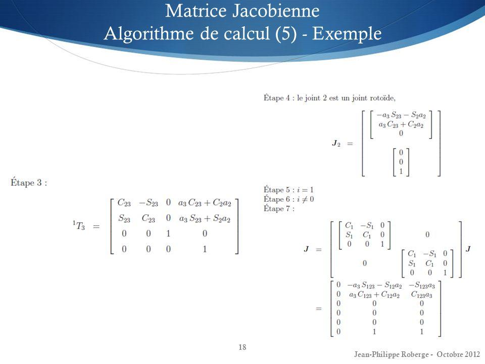 18 Matrice Jacobienne Algorithme de calcul (5) - Exemple Jean-Philippe Roberge - Octobre 2012