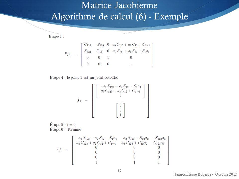 19 Matrice Jacobienne Algorithme de calcul (6) - Exemple Jean-Philippe Roberge - Octobre 2012