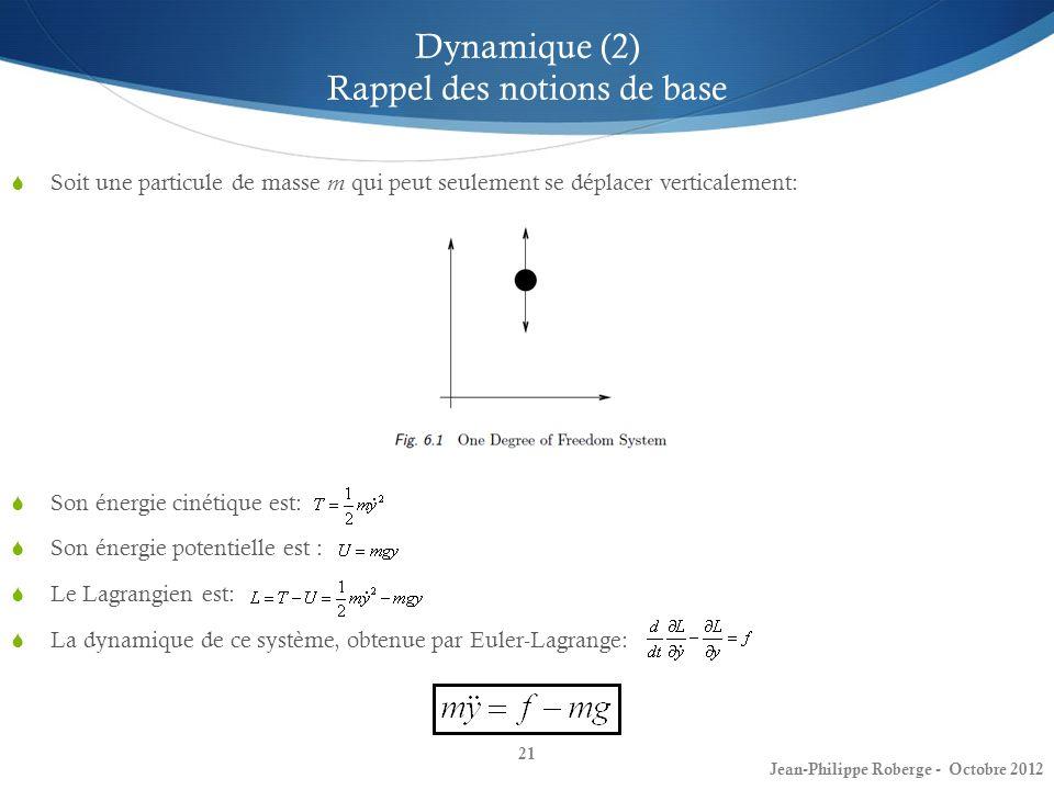 21 Dynamique (2) Rappel des notions de base Soit une particule de masse m qui peut seulement se déplacer verticalement: Son énergie cinétique est: Son
