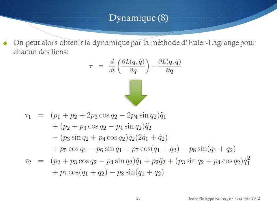 27 On peut alors obtenir la dynamique par la méthode dEuler-Lagrange pour chacun des liens: Dynamique (8)