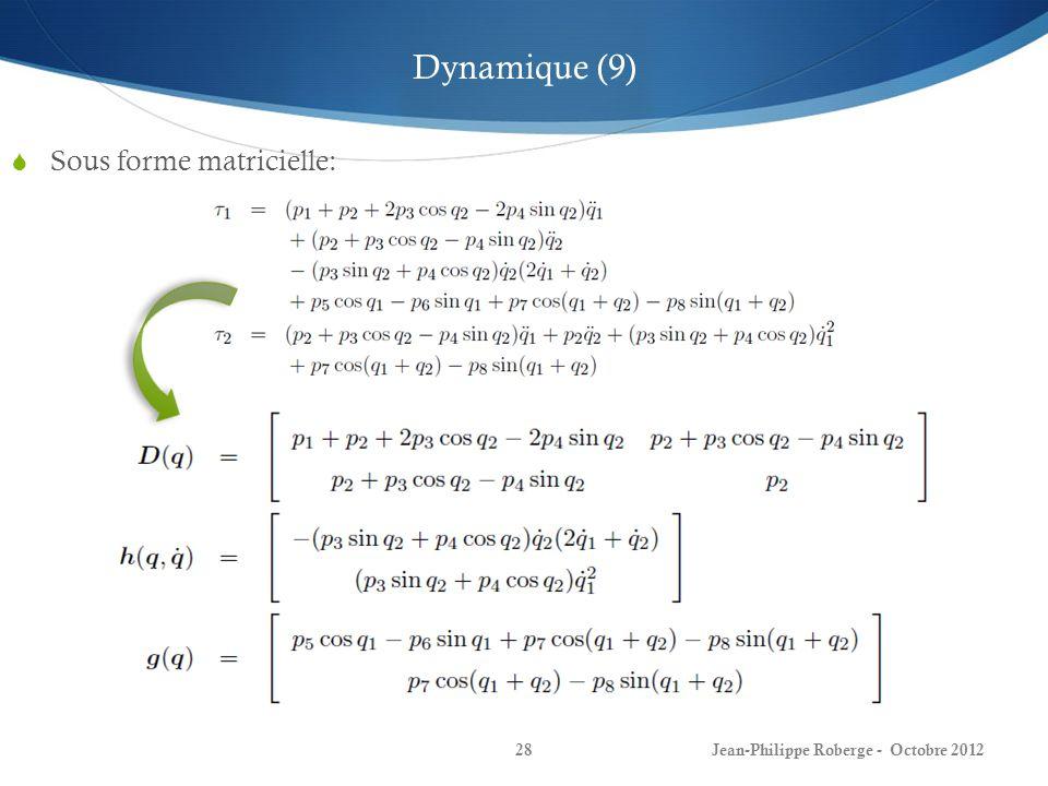 Jean-Philippe Roberge - Octobre 201228 Sous forme matricielle: Dynamique (9)