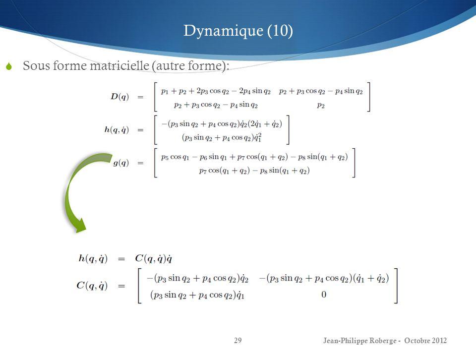 Jean-Philippe Roberge - Octobre 201229 Sous forme matricielle (autre forme): Dynamique (10)