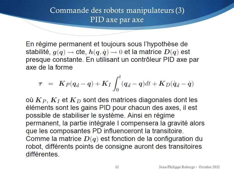 Jean-Philippe Roberge - Octobre 201232 Commande des robots manipulateurs (3) PID axe par axe