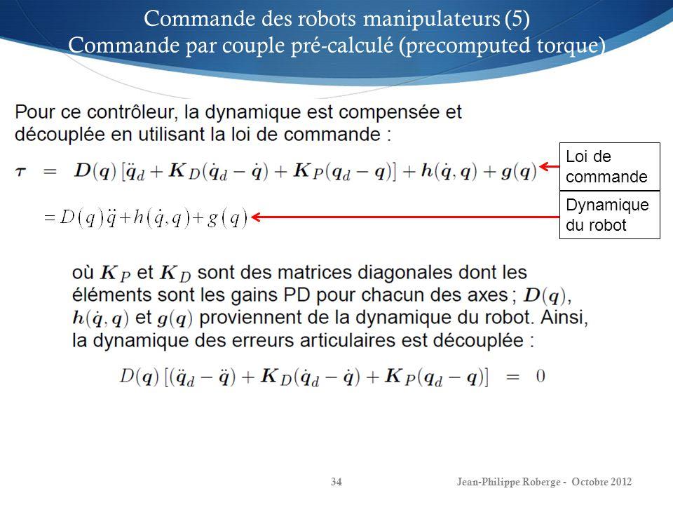 Jean-Philippe Roberge - Octobre 201234 Commande des robots manipulateurs (5) Commande par couple pré-calculé (precomputed torque) Loi de commande Dyna