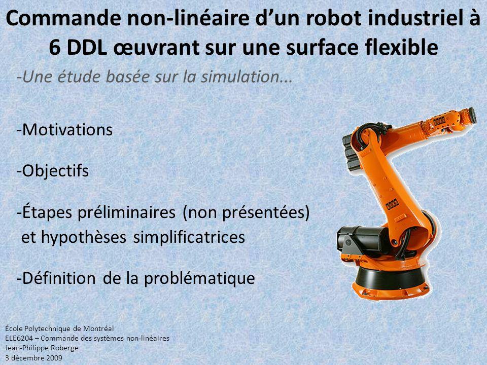 Commande non-linéaire dun robot industriel à 6 DDL œuvrant sur une surface flexible -Motivations -Objectifs -Étapes préliminaires (non présentées) et