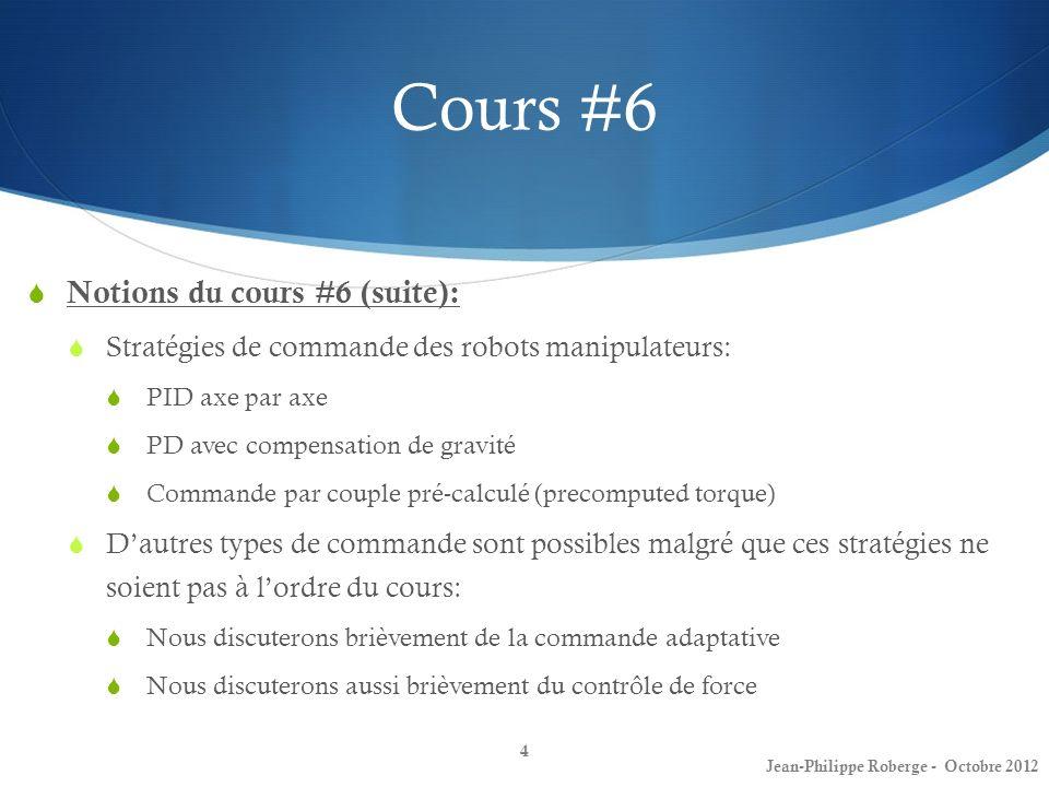Cours #6 Notions du cours #6 (suite): Stratégies de commande des robots manipulateurs: PID axe par axe PD avec compensation de gravité Commande par co