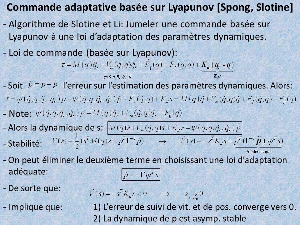 Commande adaptative basée sur Lyapunov [Spong, Slotine] - Algorithme de Slotine et Li: Jumeler une commande basée sur Lyapunov à une loi dadaptation d