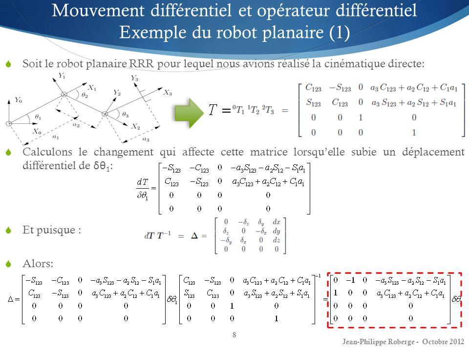 8 Mouvement différentiel et opérateur différentiel Exemple du robot planaire (1) Soit le robot planaire RRR pour lequel nous avions réalisé la cinémat