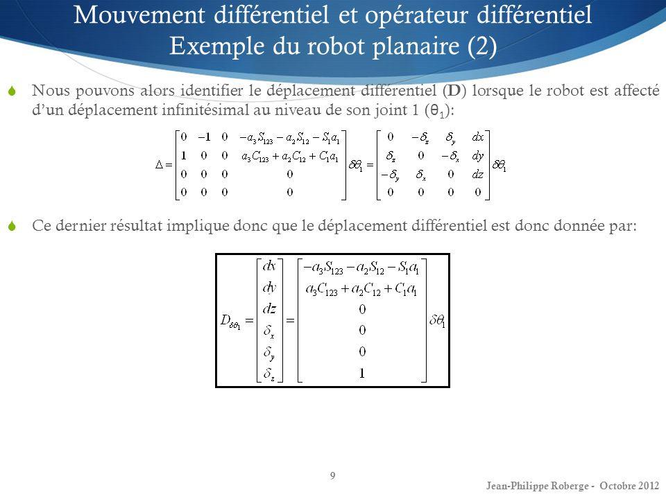 9 Mouvement différentiel et opérateur différentiel Exemple du robot planaire (2) Nous pouvons alors identifier le déplacement différentiel ( D ) lorsq