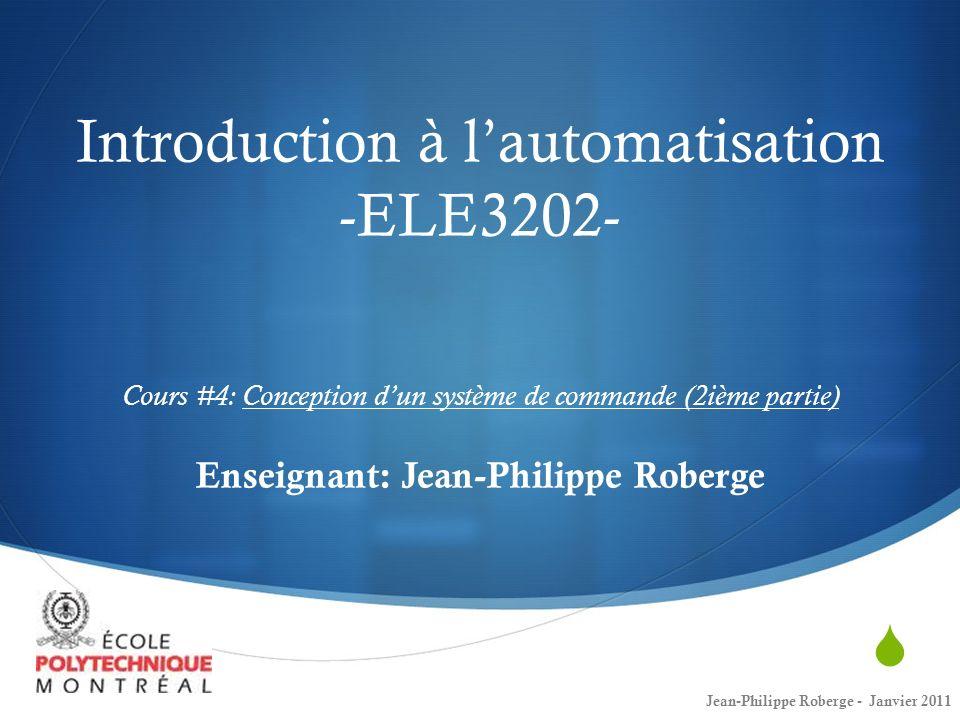 Rappel du cours #3 (XVII) Réponse en fréquence - Exemple À partir du diagramme de Bode, vous savez que vous avez probablement affaire à un système du deuxième ordre et que: Donc: Aussi: Jean-Philippe Roberge - Janvier 201122