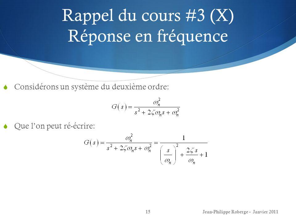 Rappel du cours #3 (X) Réponse en fréquence 15Jean-Philippe Roberge - Janvier 2011 Considérons un système du deuxième ordre: Que lon peut ré-écrire: