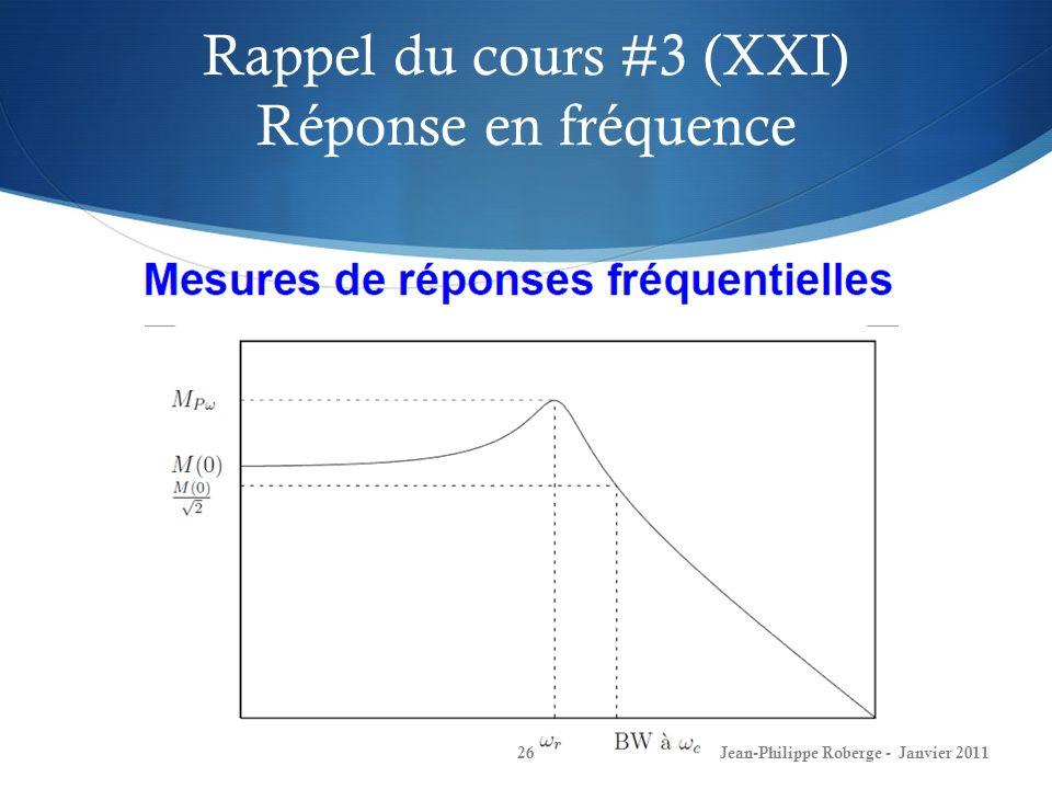 Rappel du cours #3 (XXI) Réponse en fréquence 26Jean-Philippe Roberge - Janvier 2011