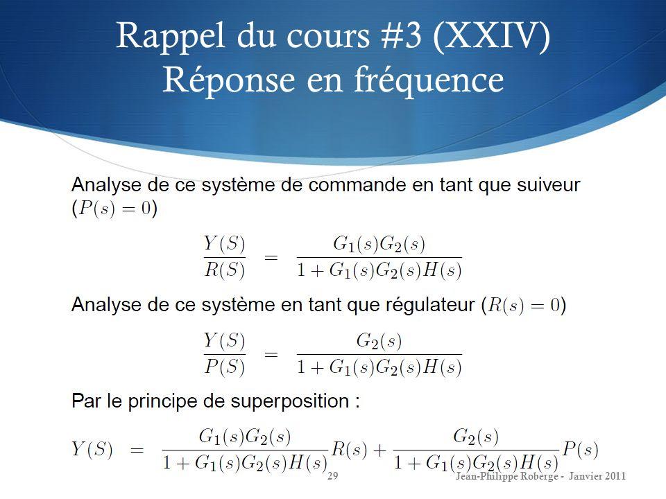 Rappel du cours #3 (XXIV) Réponse en fréquence 29Jean-Philippe Roberge - Janvier 2011