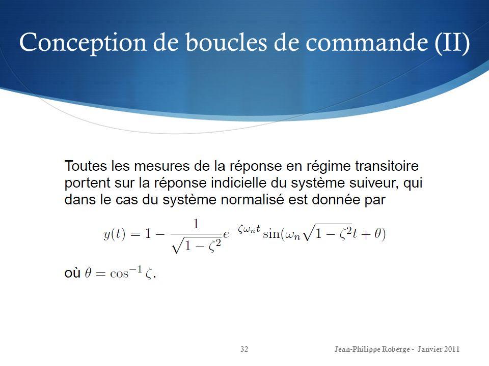 Conception de boucles de commande (II) 32Jean-Philippe Roberge - Janvier 2011
