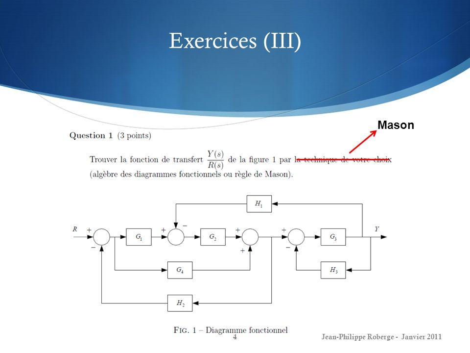 Rappel du cours #3 (XX) Réponse en fréquence 25Jean-Philippe Roberge - Janvier 2011