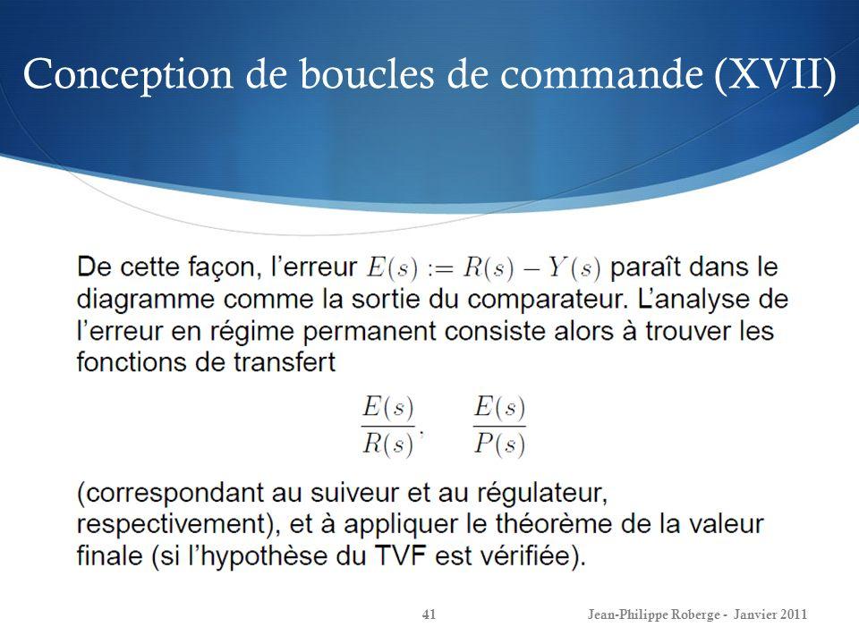 Conception de boucles de commande (XVII) 41Jean-Philippe Roberge - Janvier 2011