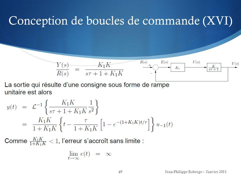 Conception de boucles de commande (XVI) 49Jean-Philippe Roberge - Janvier 2011