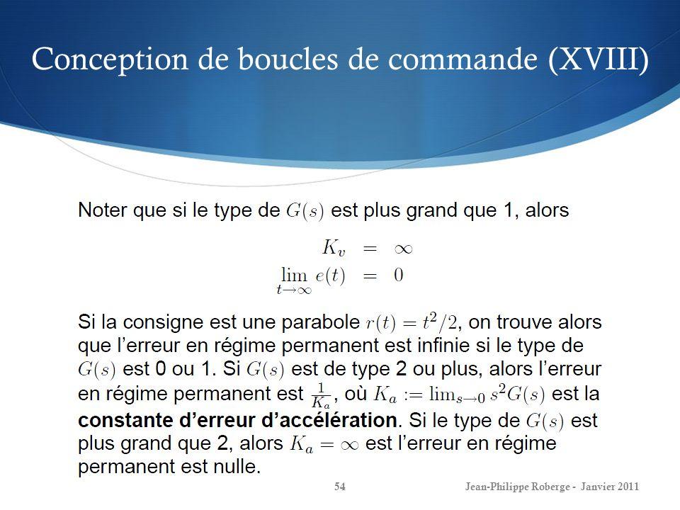 Conception de boucles de commande (XVIII) 54Jean-Philippe Roberge - Janvier 2011