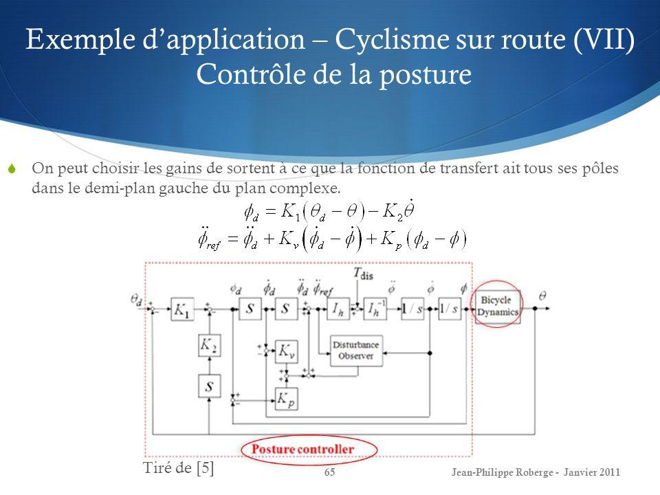 Exemple dapplication – Cyclisme sur route (VII) Contrôle de la posture 65Jean-Philippe Roberge - Janvier 2011 On peut choisir les gains de sortent à ce que la fonction de transfert ait tous ses pôles dans le demi-plan gauche du plan complexe.