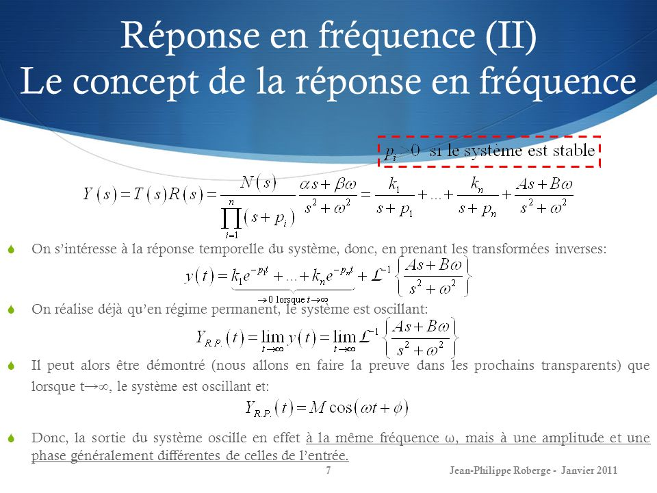 Réponse en fréquence (III) Le concept de la réponse en fréquence 8 Prouvons maintenant que: Par décomposition en fractions partielles: Identifions maintenant les éléments K 1 et K 2 : Donc, on peut ré-écrire: Jean-Philippe Roberge - Janvier 2011