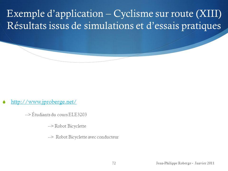 Exemple dapplication – Cyclisme sur route (XIII) Résultats issus de simulations et dessais pratiques 72Jean-Philippe Roberge - Janvier 2011 http://www.jproberge.net/ --> Étudiants du cours ELE3203 --> Robot Bicyclette --> Robot Bicyclette avec conducteur