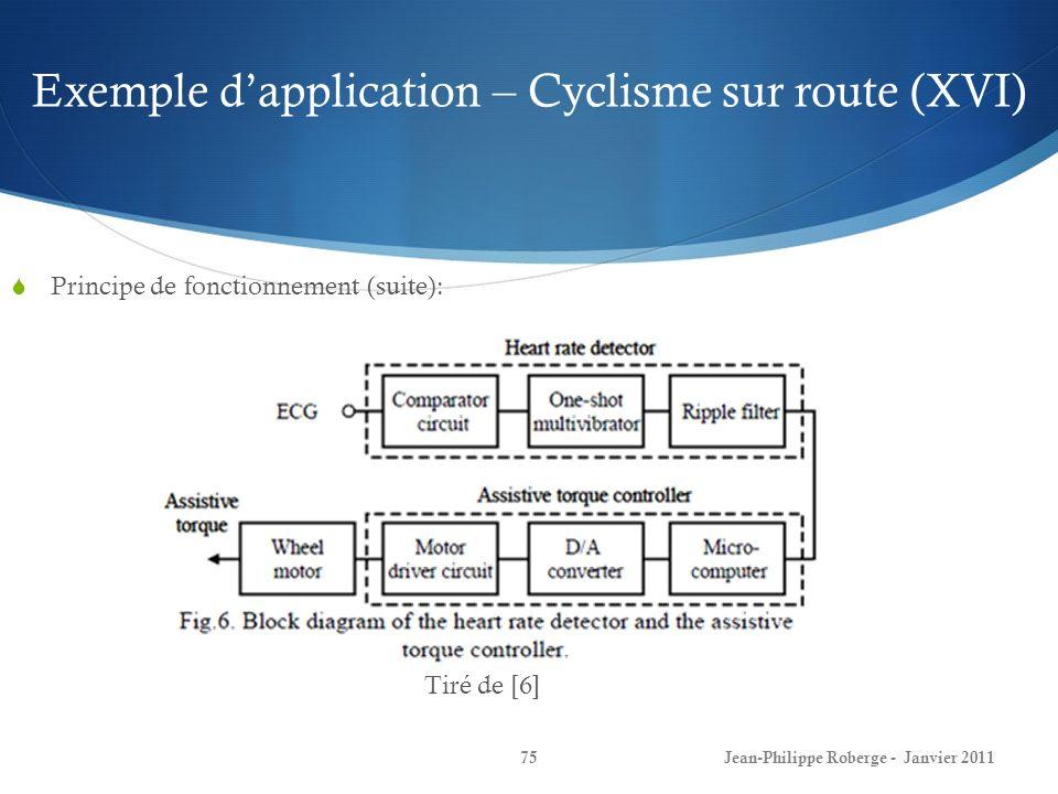 Exemple dapplication – Cyclisme sur route (XVI) 75Jean-Philippe Roberge - Janvier 2011 Principe de fonctionnement (suite): Tiré de [6]