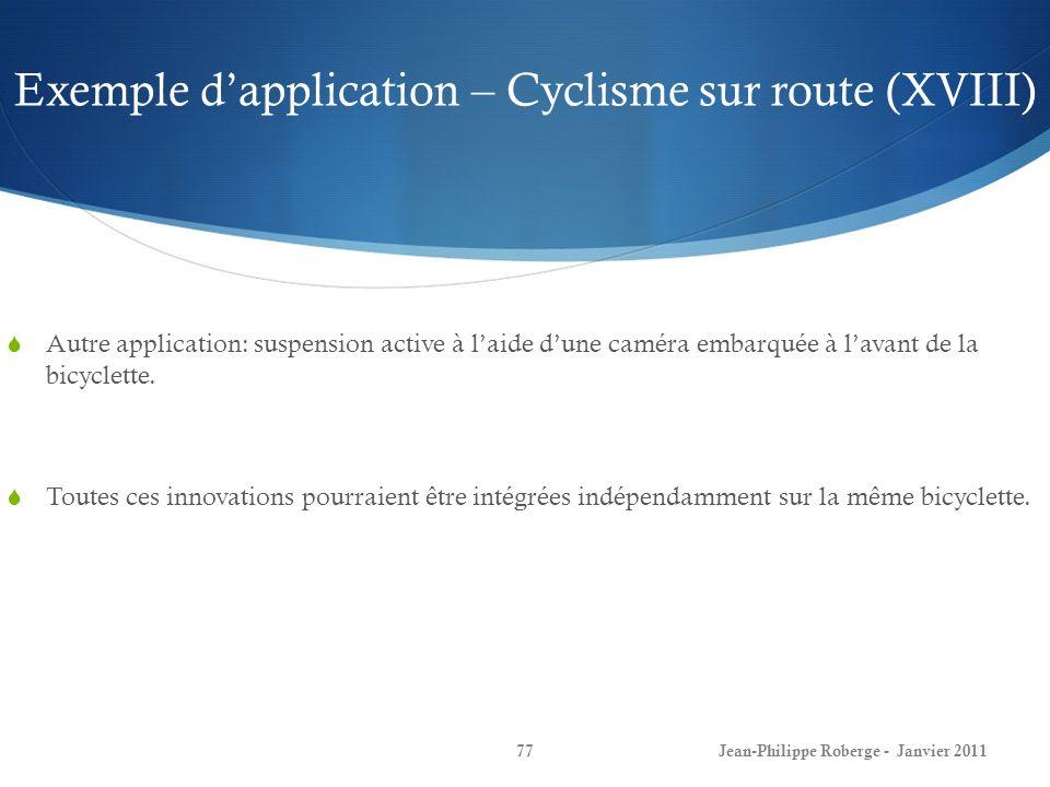 Exemple dapplication – Cyclisme sur route (XVIII) 77Jean-Philippe Roberge - Janvier 2011 Autre application: suspension active à laide dune caméra embarquée à lavant de la bicyclette.