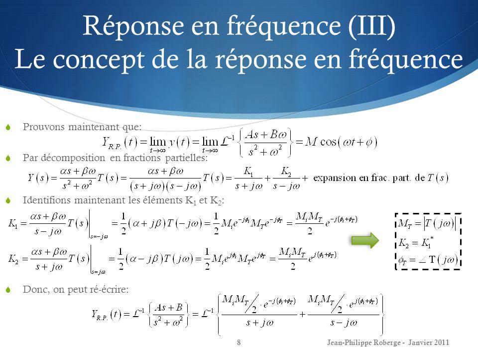 Réponse en fréquence (IV) Le concept de la réponse en fréquence 9 Ce qui ne fut pas démontré au dernier cours et qui est assez trivial: On utilise la table standard de transformés de Laplace ainsi que lidentité dEuler et on obtient: Jean-Philippe Roberge - Janvier 2011