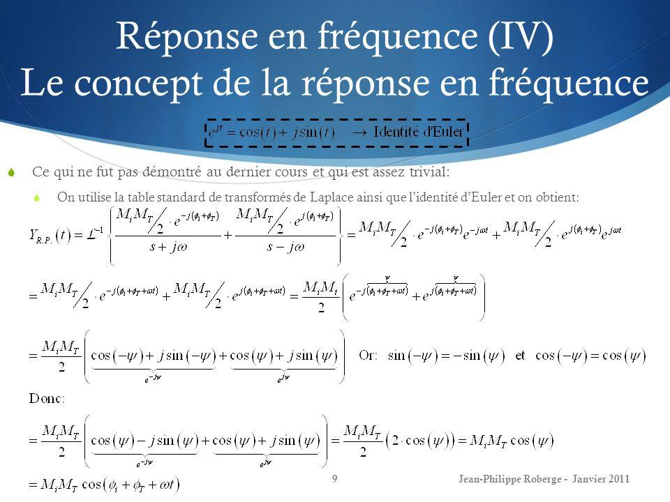 Rappel du cours #3 (V) Réponse en fréquence 10 Donc, au cours précédent (voir transparents du cours #3), nous avions démontré, à laide de lidentité dEuler, que: On parvient à la conclusion suivante: La réponse en fréquence dun système est entièrement déterminée par: En effet, puisque: la réponse en régime permanent à une entrée sinusoïdale est alors sinusoïdale avec la même fréquence, avec une amplitude |T(jw)| fois celle de lentrée, et avec un déphasage de T(jw) par rapport à lentrée.