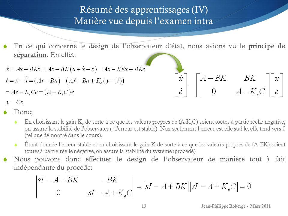 Jean-Philippe Roberge - Mars 201113 Résumé des apprentissages (IV) Matière vue depuis lexamen intra En ce qui concerne le design de lobservateur détat