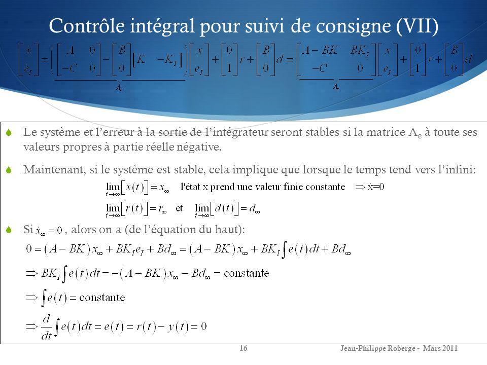 Contrôle intégral pour suivi de consigne (VII) Le système et lerreur à la sortie de lintégrateur seront stables si la matrice A e à toute ses valeurs