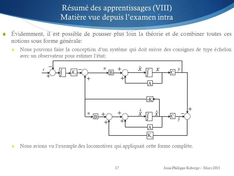 Jean-Philippe Roberge - Mars 201117 Résumé des apprentissages (VIII) Matière vue depuis lexamen intra Évidemment, il est possible de pousser plus loin