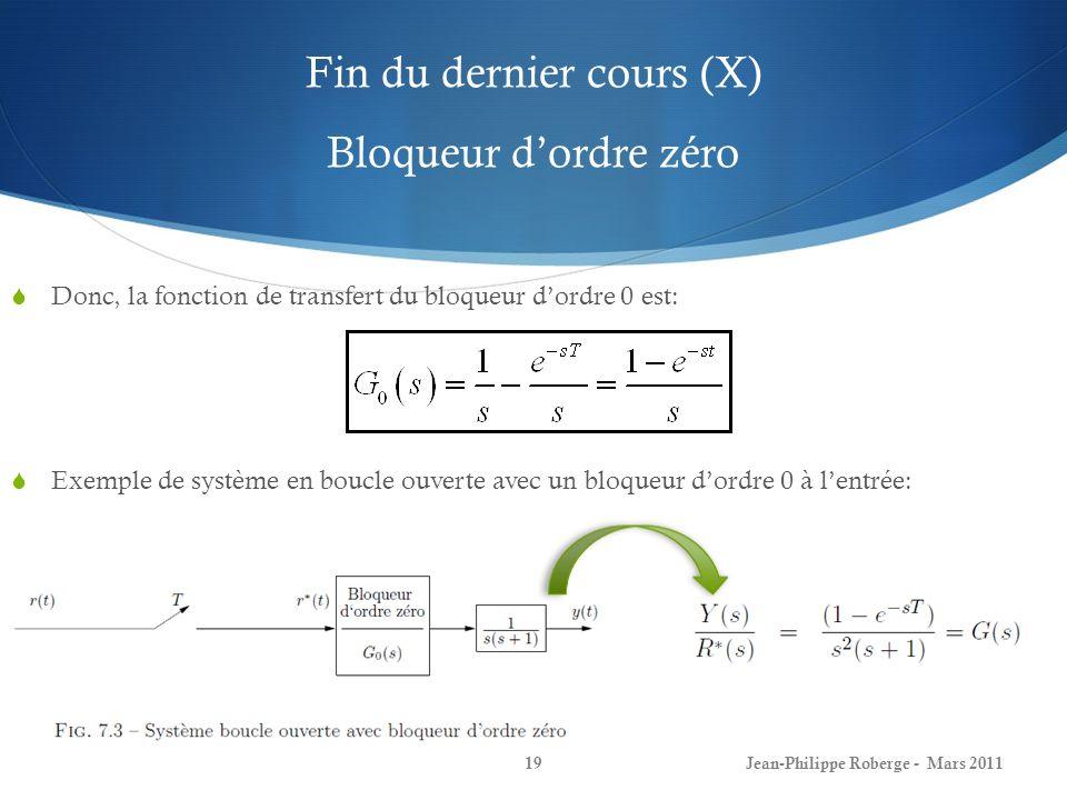 Fin du dernier cours (X) Bloqueur dordre zéro Jean-Philippe Roberge - Mars 201119 Donc, la fonction de transfert du bloqueur dordre 0 est: Exemple de