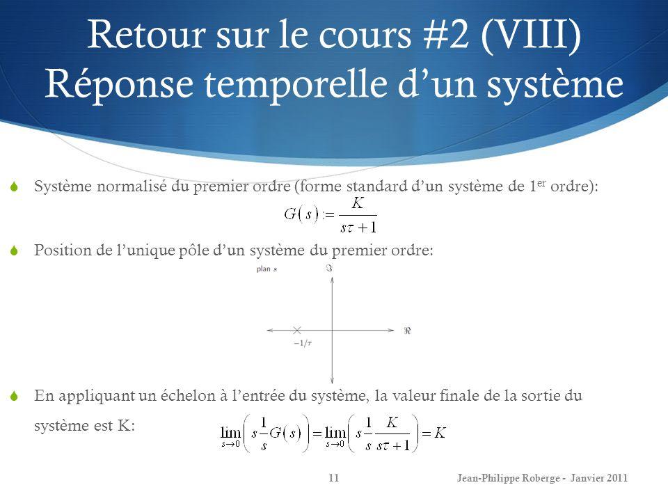 Retour sur le cours #2 (VIII) Réponse temporelle dun système 11 Système normalisé du premier ordre (forme standard dun système de 1 er ordre): Positio