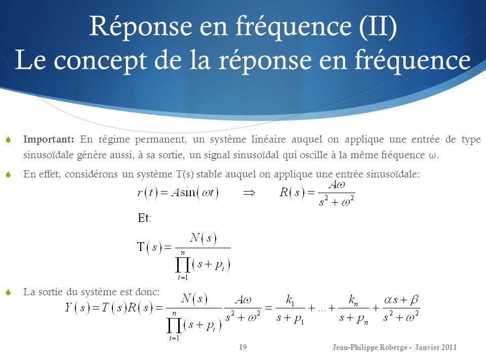 Réponse en fréquence (II) Le concept de la réponse en fréquence 19 Important: En régime permanent, un système linéaire auquel on applique une entrée d