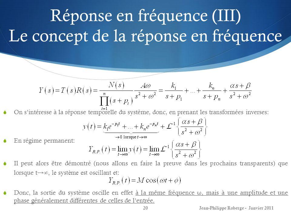 Réponse en fréquence (III) Le concept de la réponse en fréquence 20 On sintéresse à la réponse temporelle du système, donc, en prenant les transformée