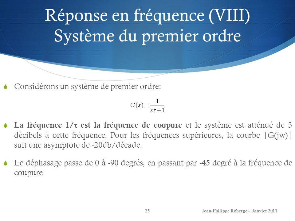 Réponse en fréquence (VIII) Système du premier ordre 25Jean-Philippe Roberge - Janvier 2011 Considérons un système de premier ordre: La fréquence 1/ τ