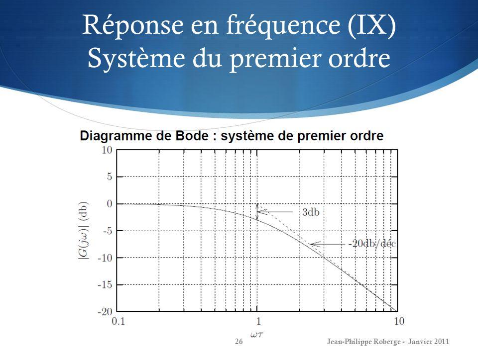 Réponse en fréquence (IX) Système du premier ordre 26Jean-Philippe Roberge - Janvier 2011
