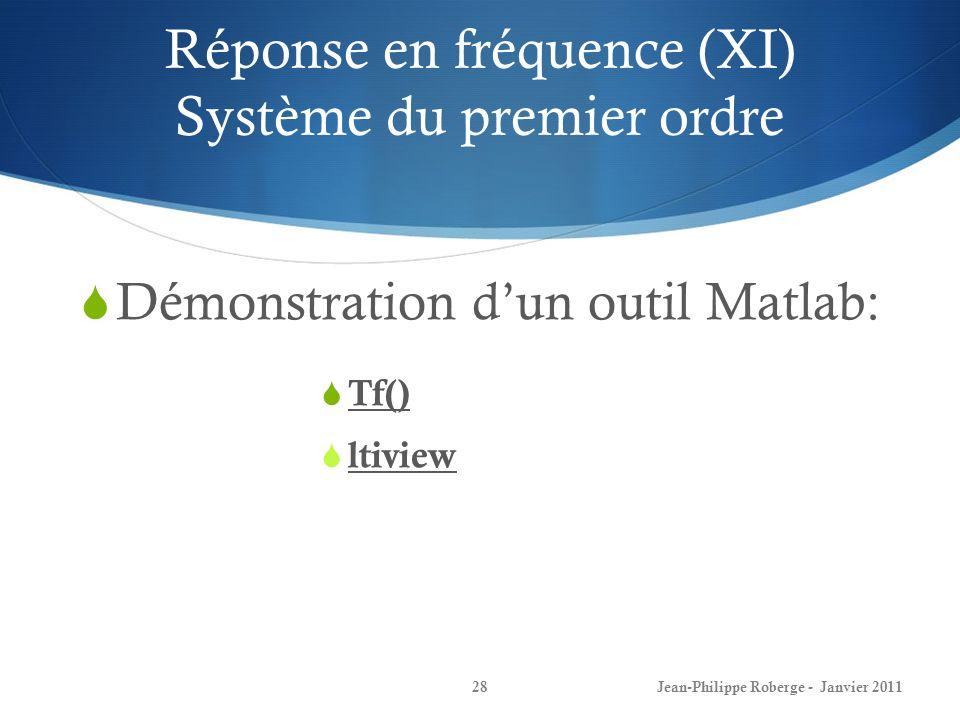 Réponse en fréquence (XI) Système du premier ordre 28Jean-Philippe Roberge - Janvier 2011 Démonstration dun outil Matlab: Tf() ltiview