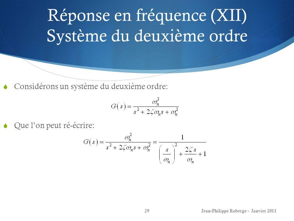Réponse en fréquence (XII) Système du deuxième ordre 29Jean-Philippe Roberge - Janvier 2011 Considérons un système du deuxième ordre: Que lon peut ré-